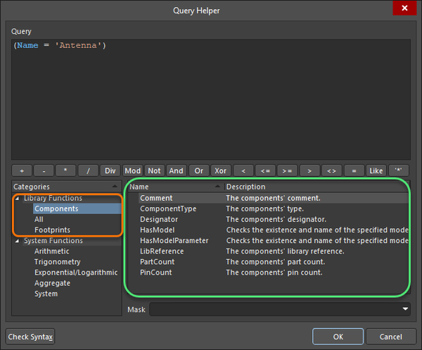 Component and library query functions shown in the Query Helper dialog