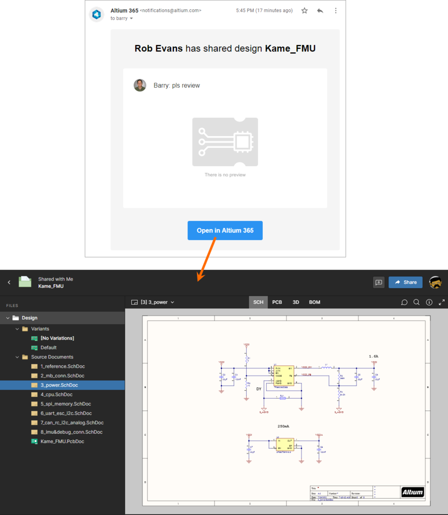 Accessing the design snapshot from the email invite received by the user with whom the snapshot was shared.