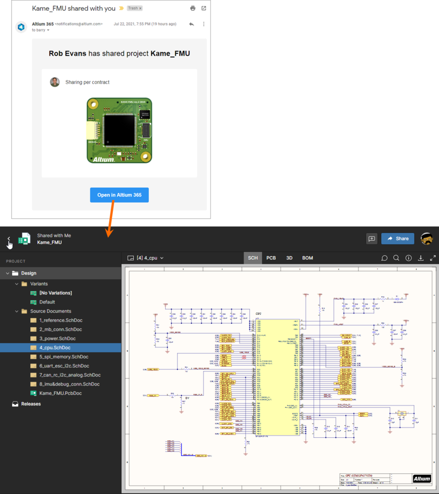 Accessing a shared live design from the email invite received by the user that is not a member of the Workspace Team.