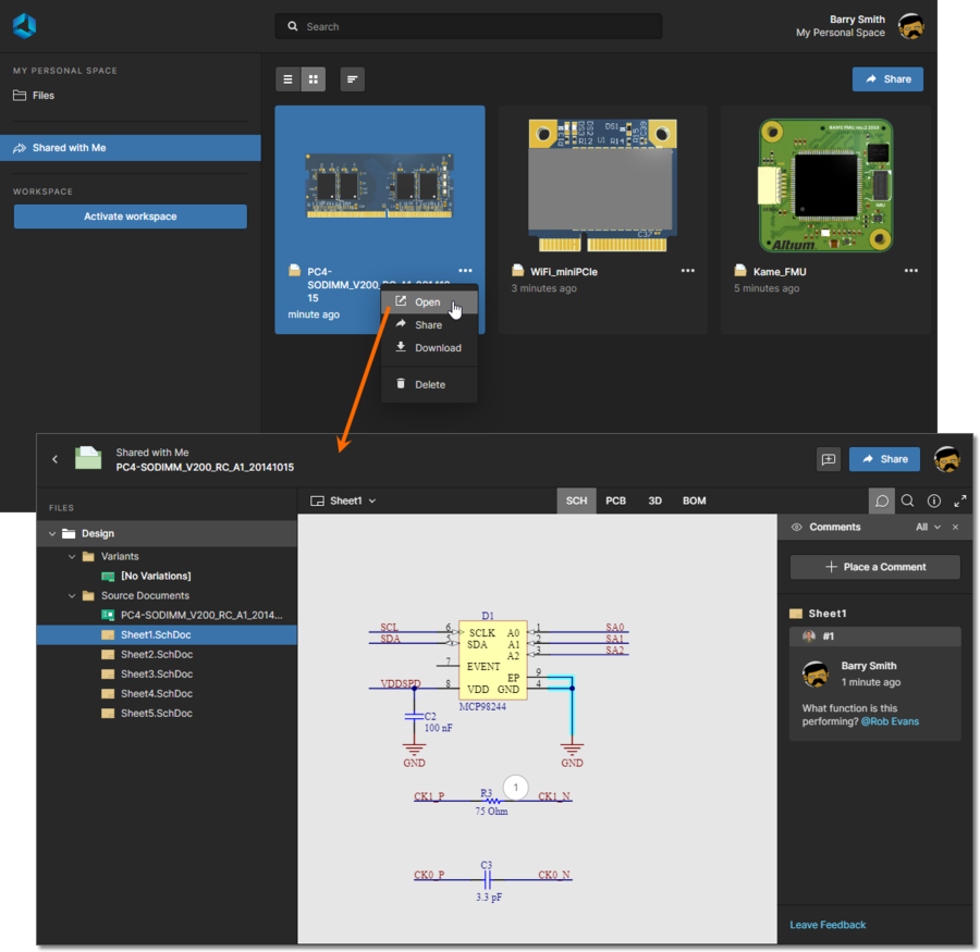 Accessing a design snapshot from the Shared with Me page of the Altium 365 Platform Interface. In this example a Comment has been placed in the shared design.