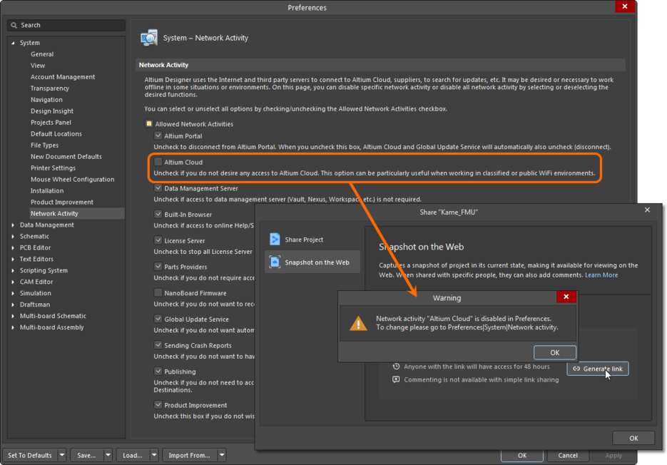 Disabling connectivity to the Altium Cloud will prevent sharing of design projects.