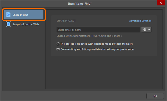 Accessing the controls to share a live/WIP design with others. Note that the image shows the case for a project already available in a connected Workspace.