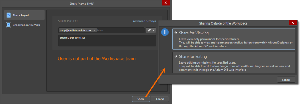 You can share a project with anyone outside of the Workspace team, for editing or viewing.