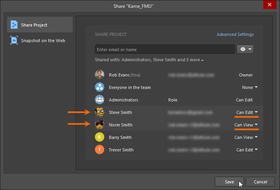 Example changes to the permissions for two existing people with which a project is currently shared.