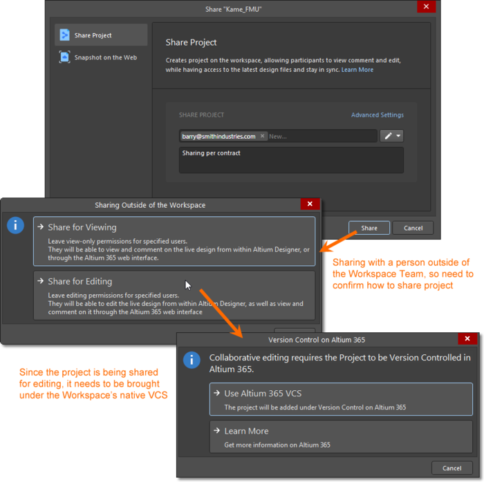 When sharing an unmanaged project (not under VCS) with a person for editing, the project will need to be brought under version control by addition to the Workspace's Versioned Storage Git design repository.