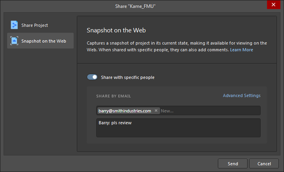 Switch mode to be able to share a design snapshot with specific people on a permanent basis.