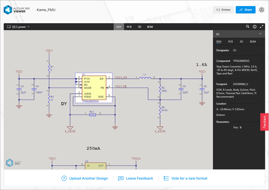Using the shared link, a recipient can browse the design snapshot using Altium 365 Viewer, loaded on the main altium.com site. Shown here is a schematic – hover over the image to see the PCB.