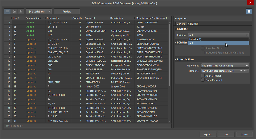 The BOM comparison opens in the Report Manager, configure the columns as required.