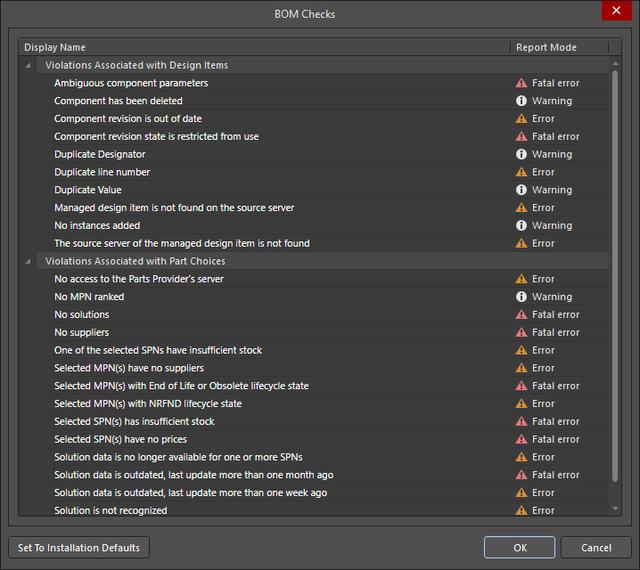BOM Checks dialog, used to configure the report mode for each of the automatic BOM Checks