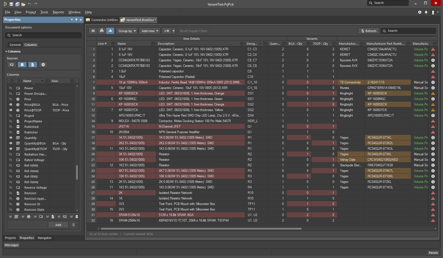 Image showing how to use Consolidated View mode, to show all parts in all variants