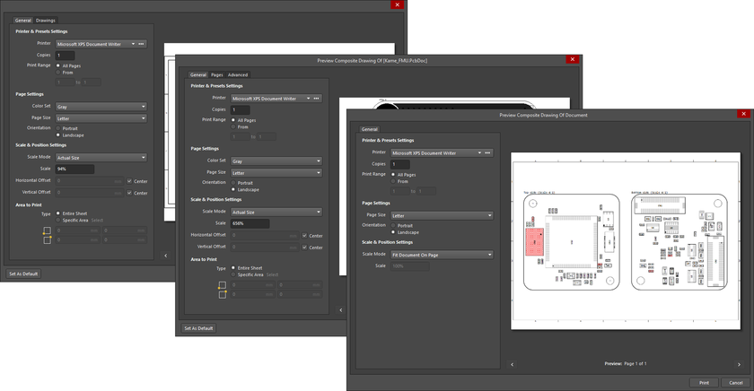 The PCB, Schematic, and Draftsman editor iterations of the Print dialog
