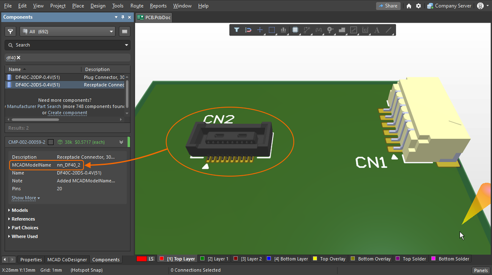 This ECAD component includes the MCADModelName parameter, with a value of nn_DF40_2.