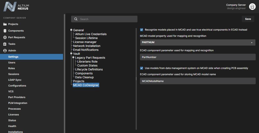 ECAD-MCAD component linkage is configured in your NEXUS Server Workspace.