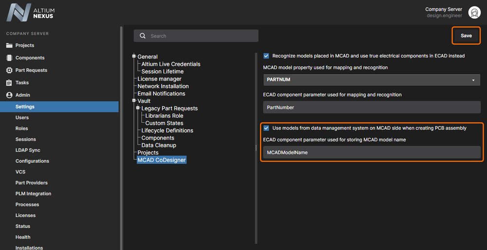 Enable and configure the Use models from data management system option, and Save the changes.