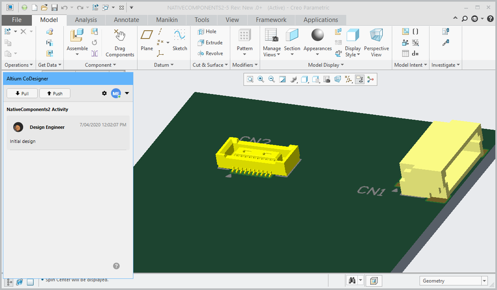 The native model has been placed on the PCB assembly in Creo.