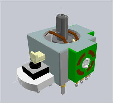 A complex 3D model in Altium Designer, positioned on the PCB footprint.
