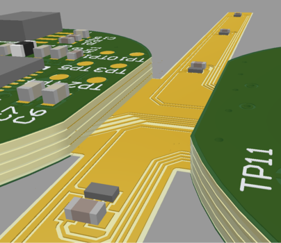 A board with two rigid regions connected by a flexible regionin the ECAD PCB editor and in MCAD.