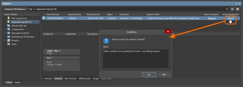 Example use of the Cancel action.
