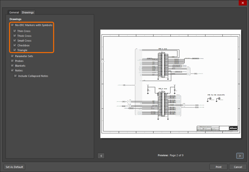 No ERC directives can be excluded from schematic printouts by configuring related options in the Print dialog.