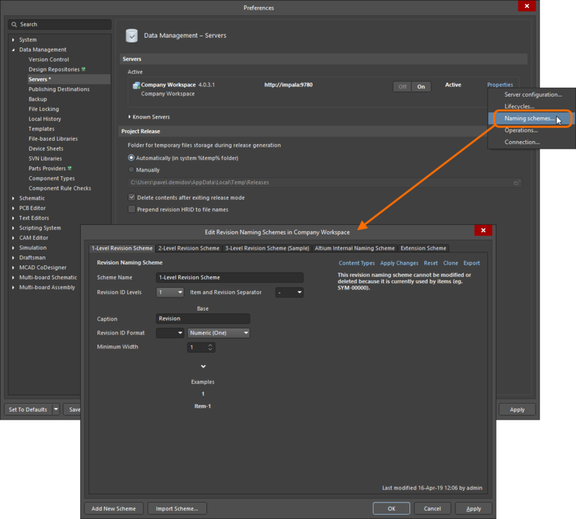 Revision Naming Schemes are defined and managed in the Edit Revision Naming Schemes dialog.