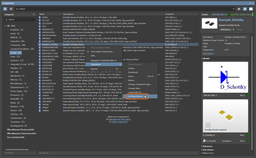 For a Workspace component, access to the Item view can be made from the Components panel.