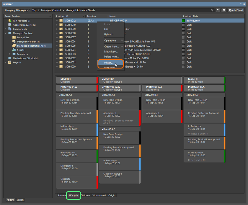 Access the Item view from the Explorer panel. Note that revision and lifecycle management can also be performed from the panel's Lifecycle aspect view tab for the Item.
