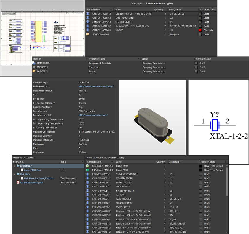 Data presented in the Item view for the revisions of three different content types – Managed Schematic Sheet Item (top), Component Item (middle), and PCB Assembly Data Item (bottom).