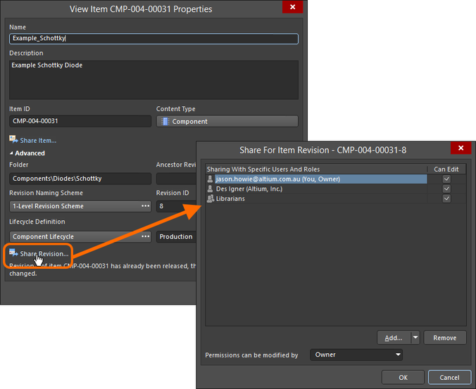 Access the Share For dialog, with which to control how the Item Revision is shared with others.