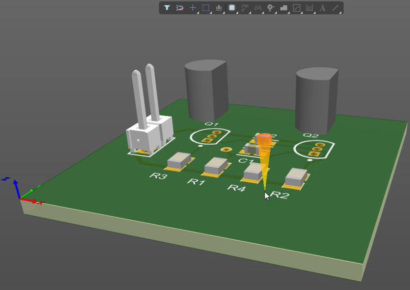 PCB editor in 3D mode, hold Shift to display the Directional Sphere, then right-click and drag to rotate the board