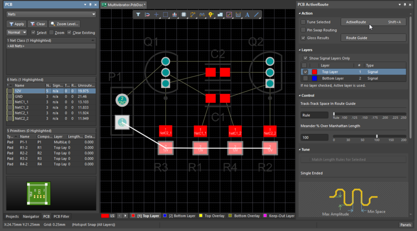 PCB editor showing the ActiveRoute panel, preparing to ActiveRoute