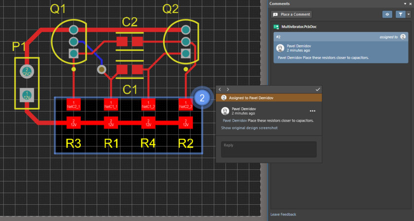 Comment for an area in the PCB document. A user is mentioned in the comment, and the comment is assigned to this user.