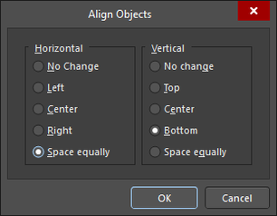 PCB editor, Align Objects dialog