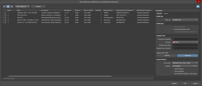Bill of Materials Report Manager dialog