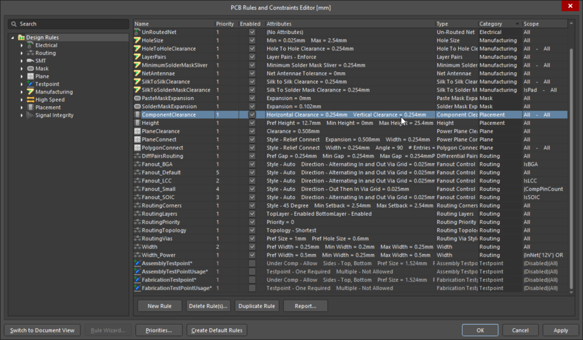 PCB Rules and Constraint Editor (Design Rules dialog), reviewing the design rules