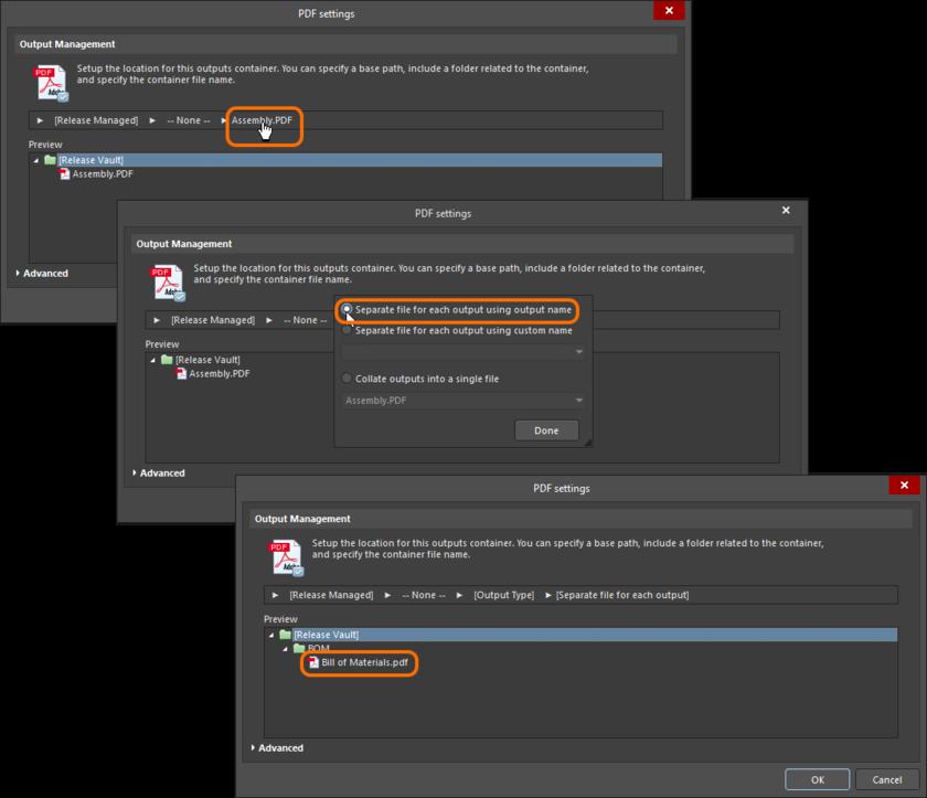 PDF setting dialog, configuring output naming