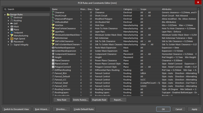 PCB Rules and Contraints Editor (Design Rules dialog)