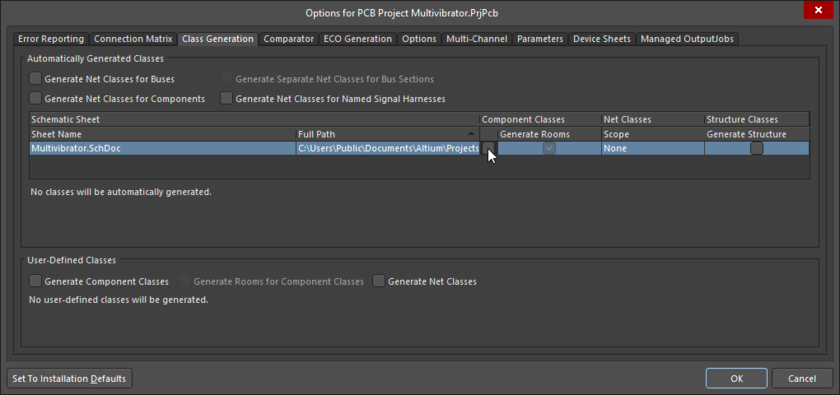 Options for PCB Project dialog, Class Generation tab