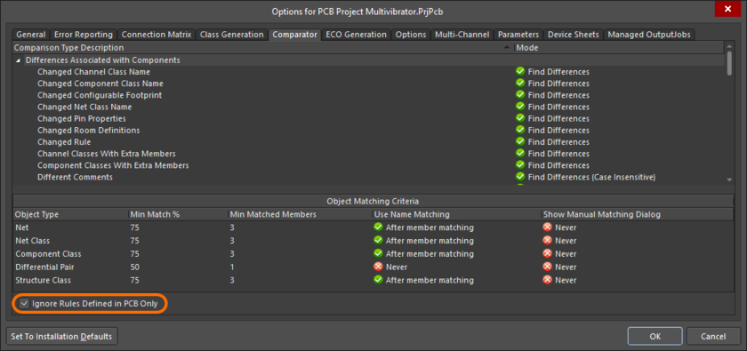Options for PCB Project dialog, Comparator tab