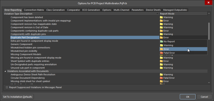 Options for PCB Project dialog, Error Reporting tab
