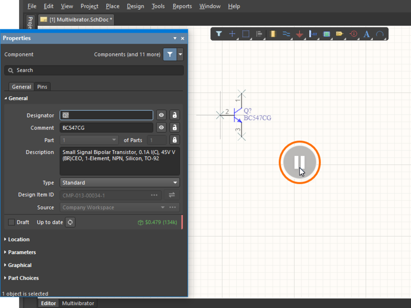 Demonstration of pausing to edit the schematic component properties on the fly