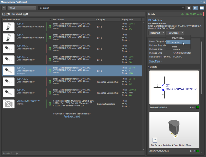 Manufacturer Part Search panel, acquiring from component details pane