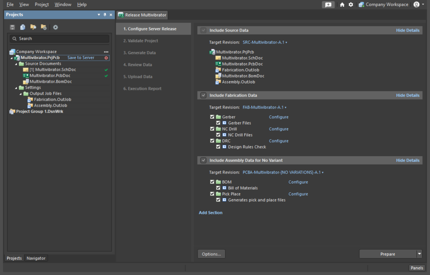 Project Releaser, Configure Server Release stage
