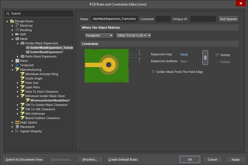 PCB editor, configuring the Solder Mask Expansion design rule