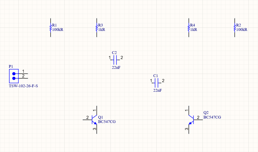 Multivibrator schematic, parts placed