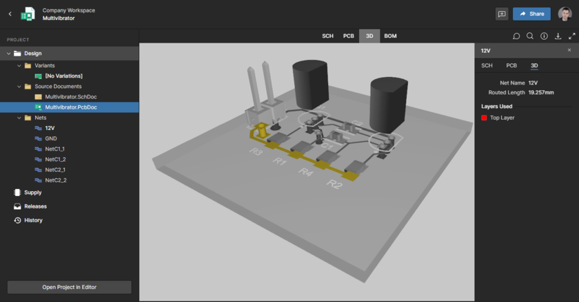 Web Viewer interface, Design view, board in 3D