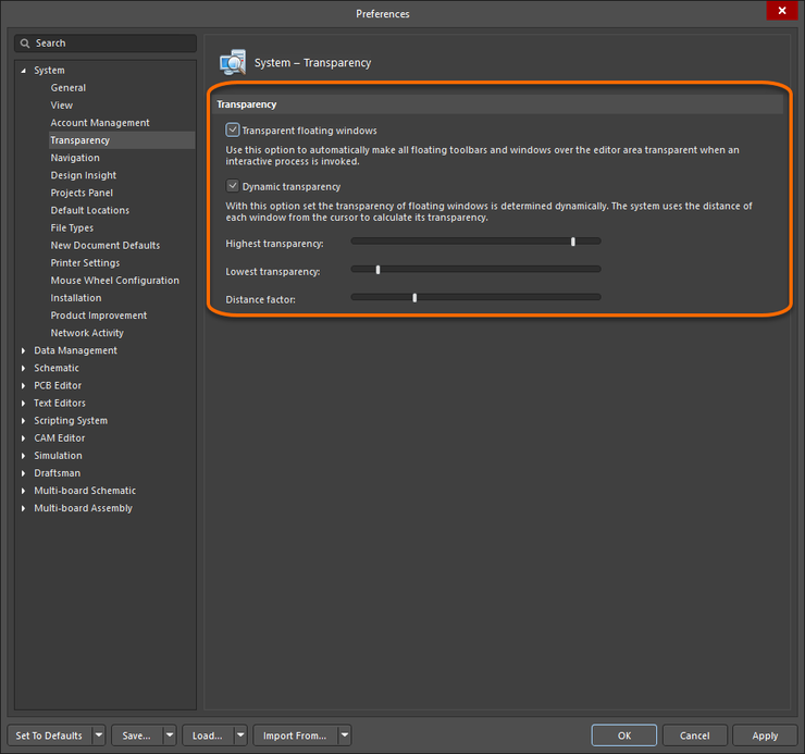 Configure floating panel transparency attributes as part of your software preferences.