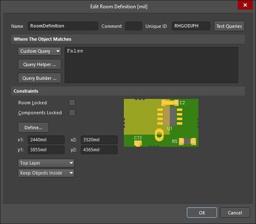 TheEdit Room Definition dialog and theRoom mode of the Properties panel