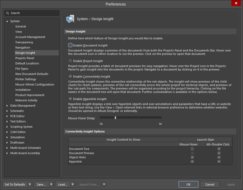 The System - Design Insight page of the Preferences dialog