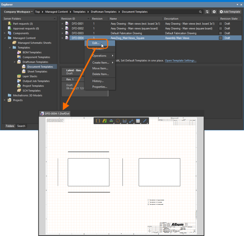 Example of accessing the command to launch direct editing of an existing Draftsman Document Template.