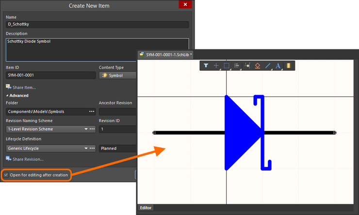 Example of editing the initial revision of a Symbol Item, directly from the Workspace – the temporary Schematic Library Editor provides the document with which to define your schematic symbol.